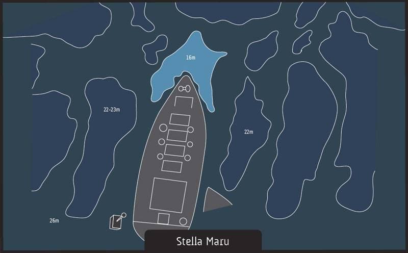 Dive site Albion Mauritius Stella Maru