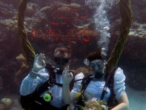 underwater wedding ceremony
